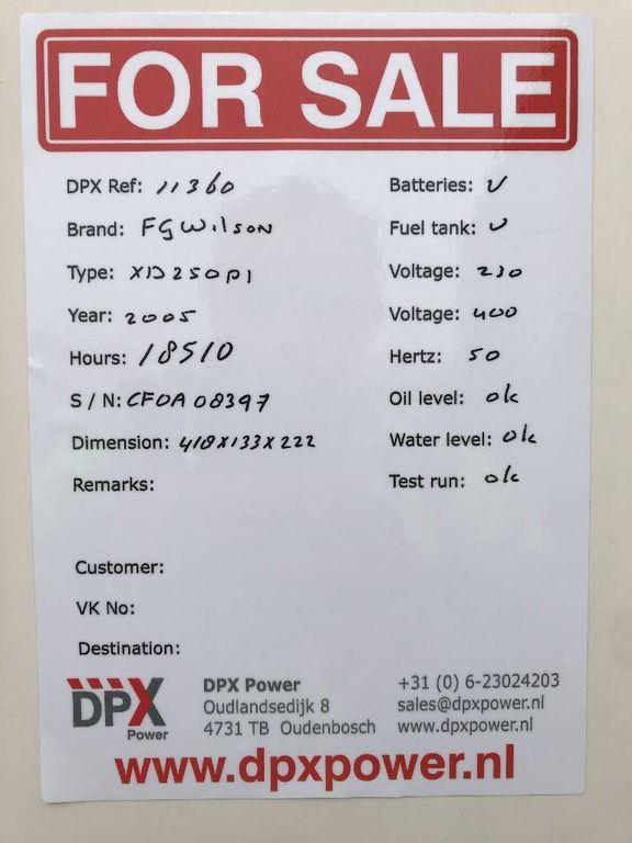 FG WILSON - XD250P1 - Perkins - 275 kVA Generator - DPX-11360